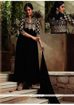 Aesthetic Black Resham Work Georgette Designer Suit