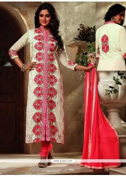 Surpassing Resham Work Cream Georgette Designer Suit