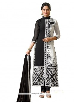Precious Georgette Black And Off White Designer Suit