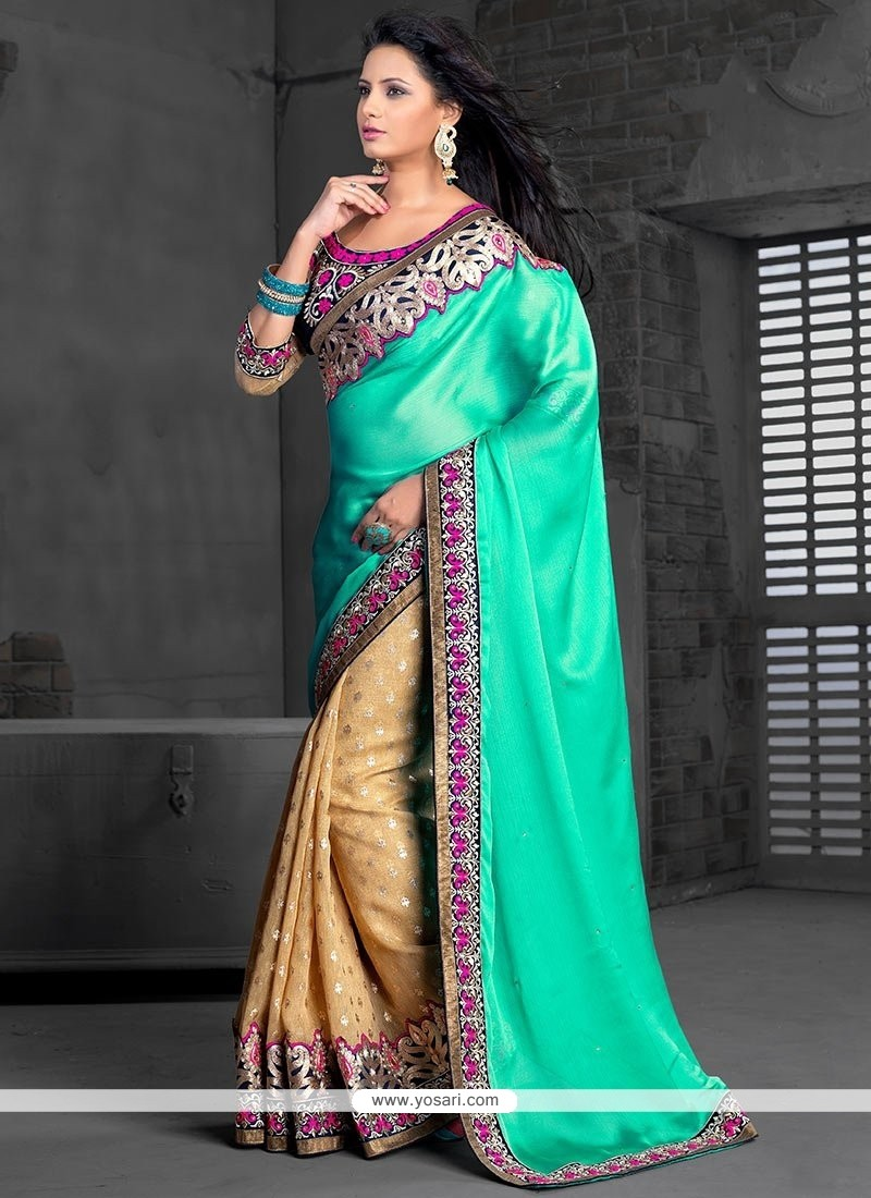 Sea Green And Beige Chiffon Half And Half Saree