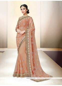Astonishing Embroidered Work Net Classic Designer Saree