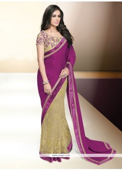 Marvelous Patch Border Work Satin Classic Designer Saree