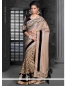 Beige Faux Chiffon Half And Half Saree