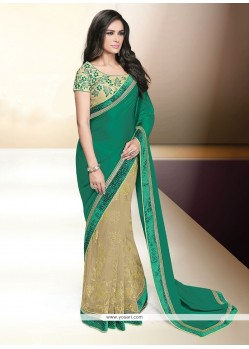 Especial Embroidered Work Green Classic Designer Saree
