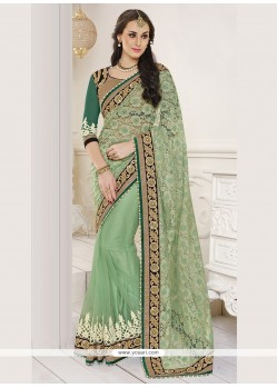 Delightsome Green Embroidered Work Net Classic Designer Saree