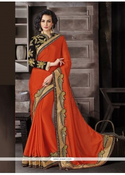 Orange Embroidered Work Faux Chiffon Classic Designer Saree