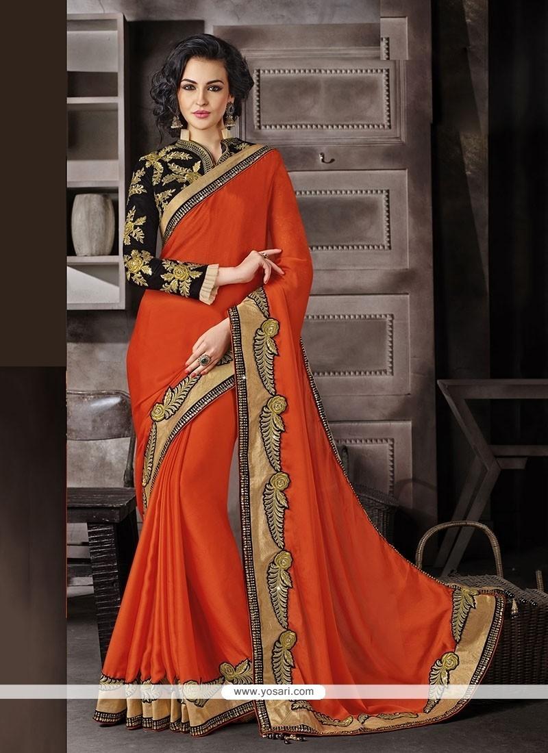 Orange Embroidered Work Faux Chiffon Classic Designer Saree