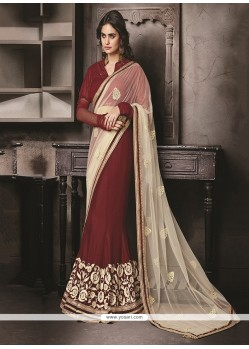 Beguiling Faux Chiffon Maroon Classic Designer Saree
