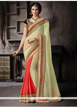 Excellent Faux Chiffon Green Embroidered Work Classic Designer Saree