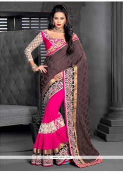 Pink And Brown Georgette Half And Half Saree