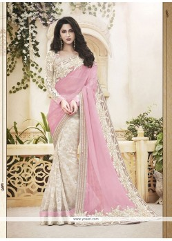 Swanky Pink Patch Border Work Faux Chiffon Classic Designer Saree