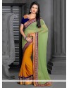 Sea Green And Mustard Georgette Saree
