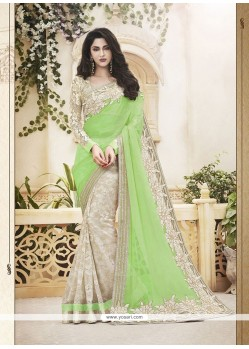 Imposing Green Embroidered Work Classic Designer Saree
