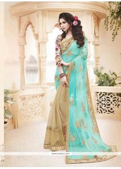 Voguish Turquoise Net Classic Designer Saree