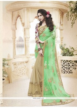 Vivid Net Patch Border Work Classic Designer Saree