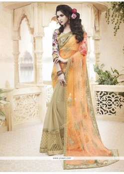 Radiant Net Orange Classic Designer Saree