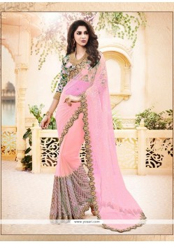 Resplendent Embroidered Work Satin Classic Designer Saree