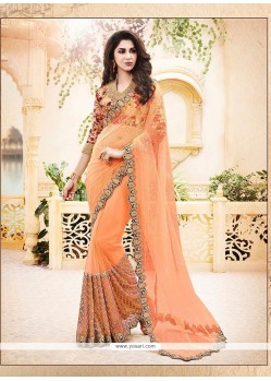 Enchanting Satin Orange Classic Designer Saree