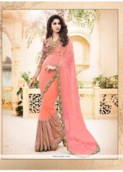 Dazzling Satin Pink Classic Designer Saree