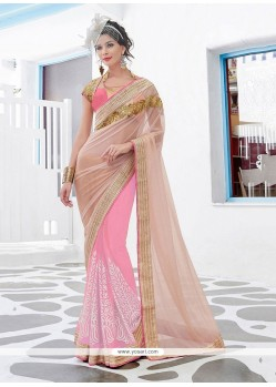 Superb Patch Border Work Net Classic Designer Saree