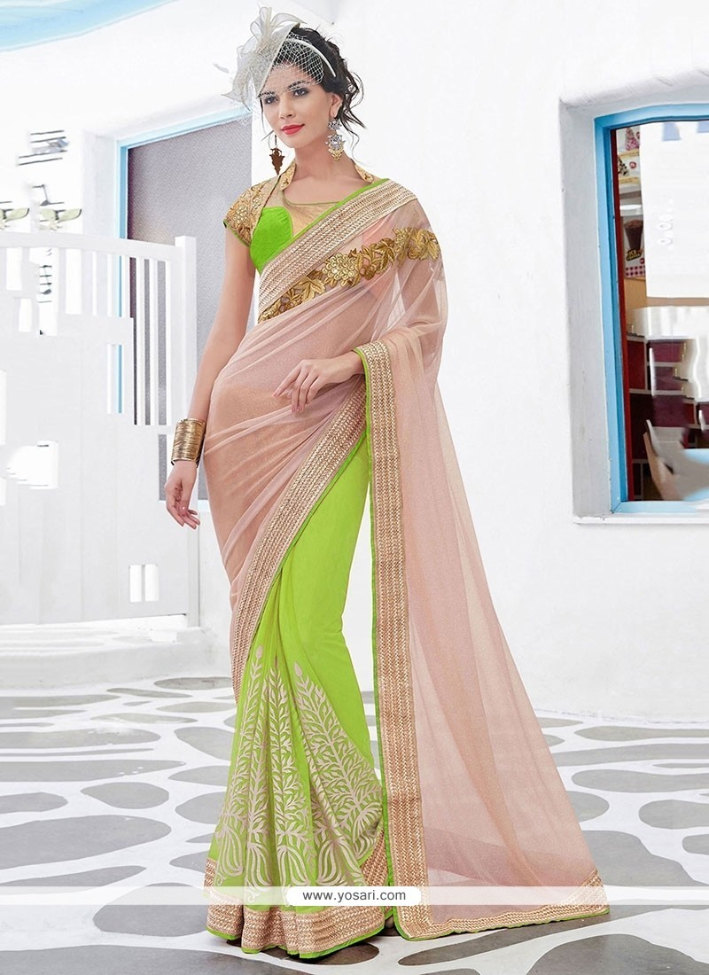 Irresistible Net Patch Border Work Classic Designer Saree