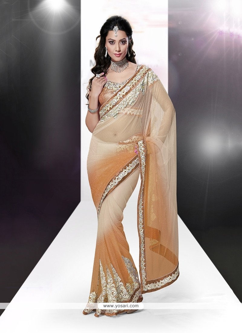 Savory Net Cream Patch Border Work Classic Designer Saree