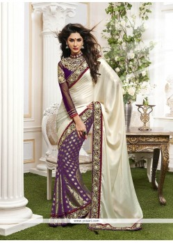 Mod Patch Border Work Viscose Classic Designer Saree