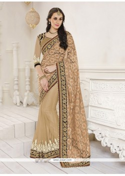 Lustre Jacquard Beige Patch Border Work Classic Designer Saree