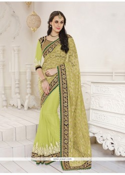 Incredible Green Embroidered Work Jacquard Classic Designer Saree