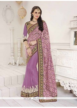 Superb Purple Patch Border Work Jacquard Classic Designer Saree