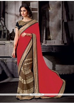 Lovely Embroidered Work Red Classic Designer Saree