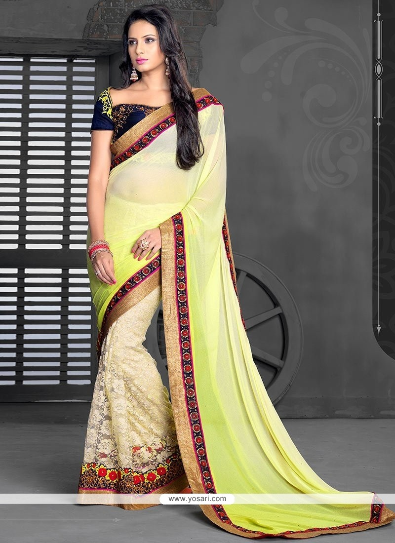Cream And Yellow Shaded Net Jacquard Half And Half Saree