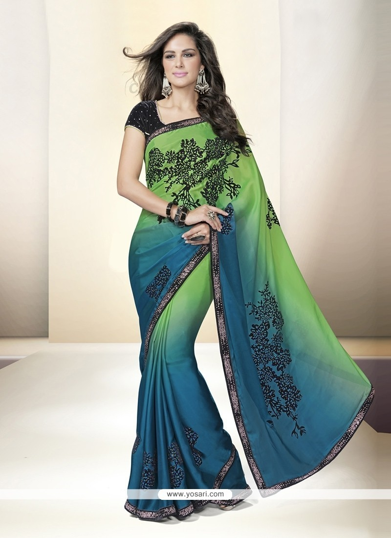 Lovable Satin Embroidered Work Classic Designer Saree