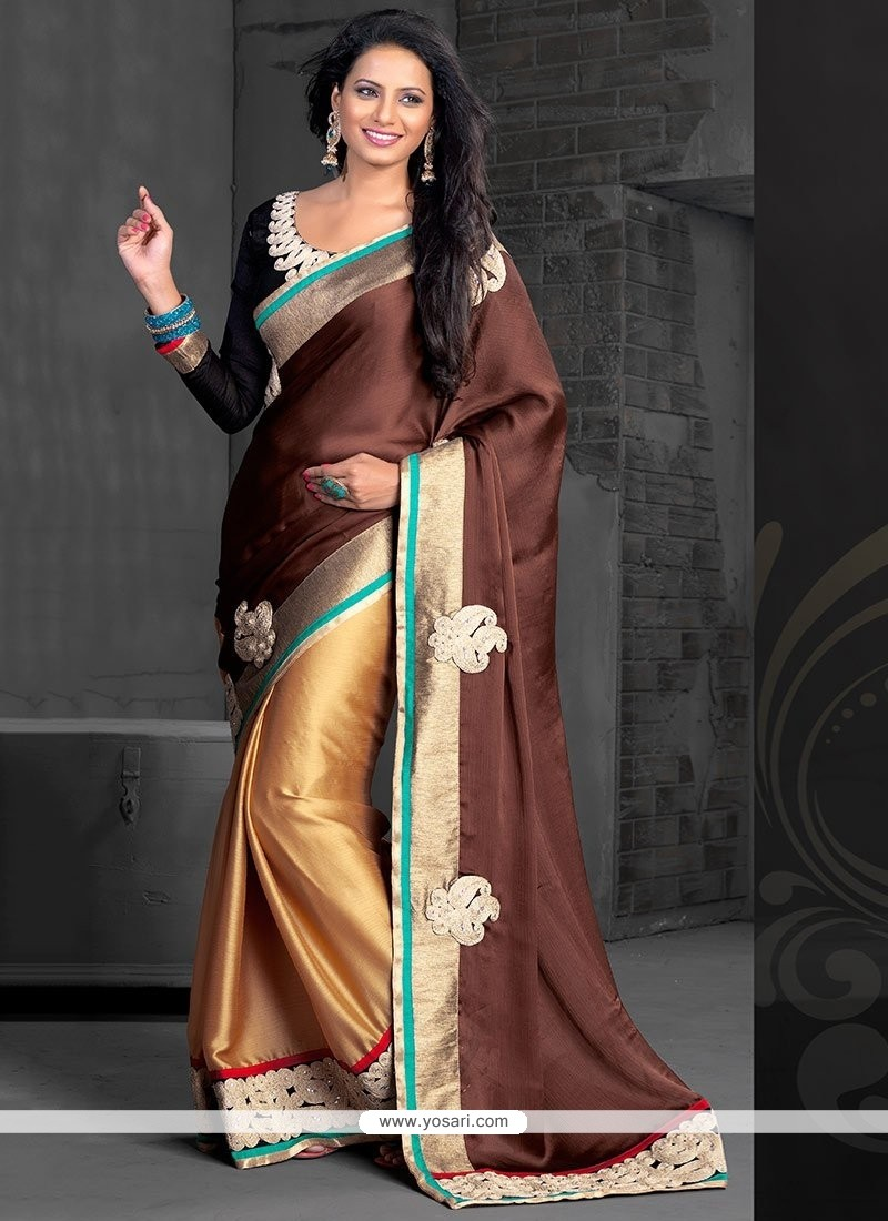 Gold And Brown Chiffon Half And Half Saree