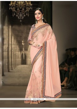 Luxurious Pink Georgette Classic Designer Saree