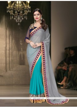 Mesmeric Embroidered Work Turquoise Classic Designer Saree