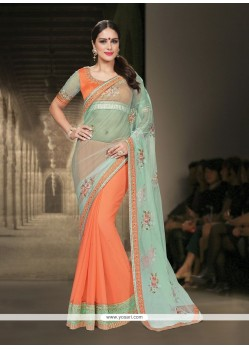 Debonair Net Orange Classic Designer Saree