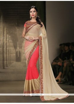 Groovy Hot Pink Patch Border Work Faux Chiffon Classic Designer Saree