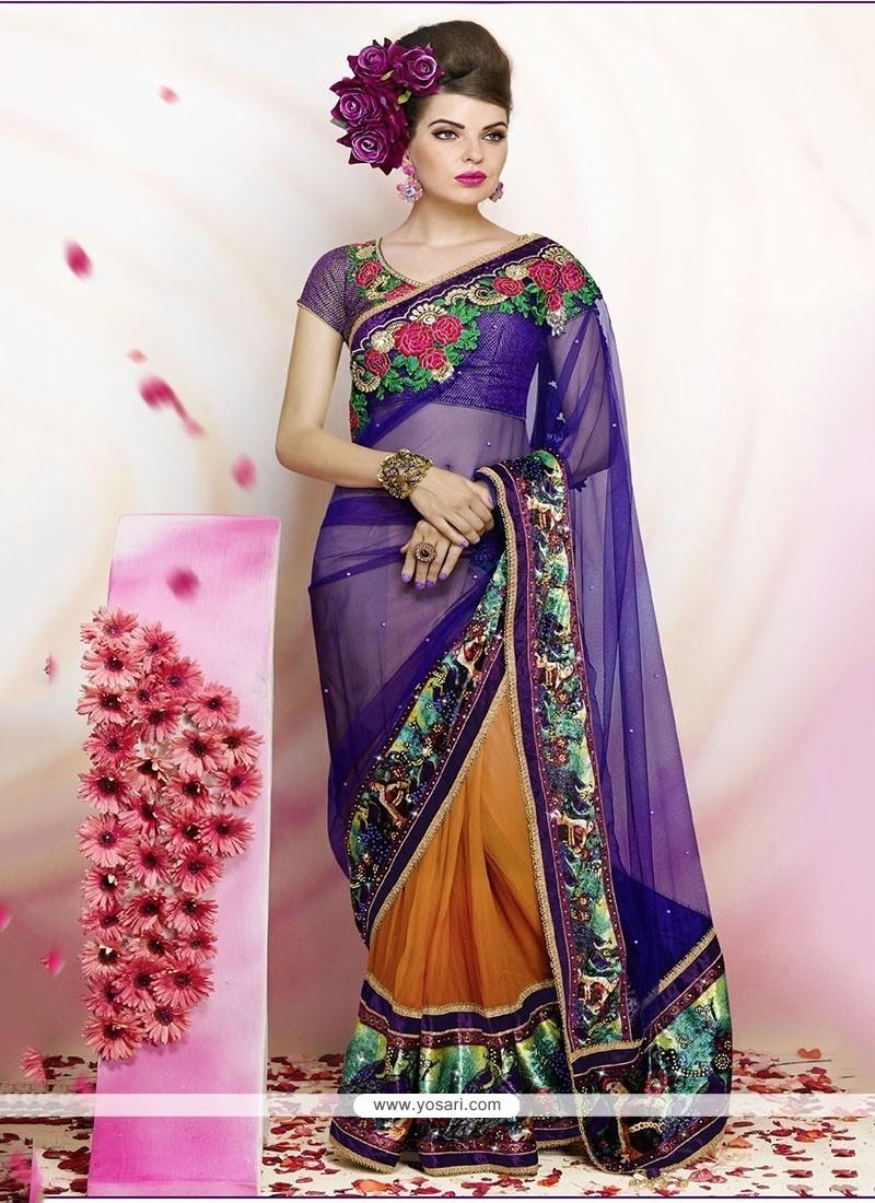 Swanky Net Purple Classic Designer Saree
