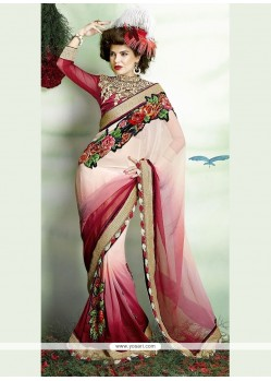 Voluptuous Net Embroidered Work Classic Designer Saree