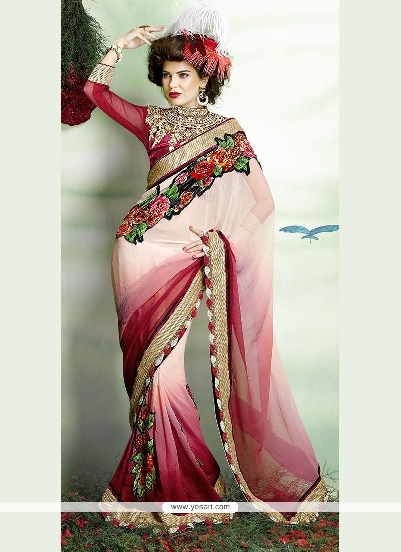Voluptuous Net Embroidered Work Classic Designer Saree