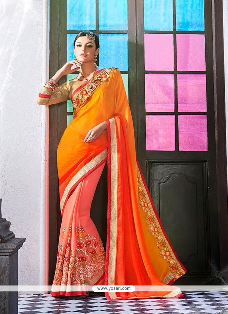 Mesmeric Jacquard Orange Embroidered Work Designer Saree