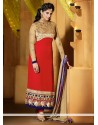 Jenifer Winget Red And Cream Georgette Churidar Suit