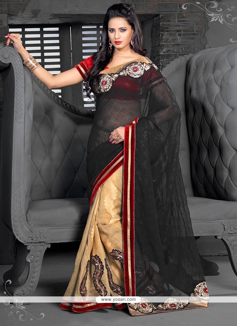 Beige And Black Georgette Half And Half Saree