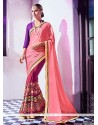 Catchy Jacquard Pink Embroidered Work Designer Saree