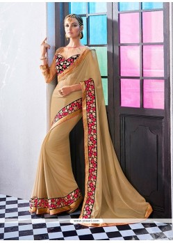 Superb Beige Patch Border Work Faux Chiffon Designer Saree