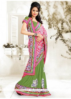 Pink And Green Net Half And Half Saree