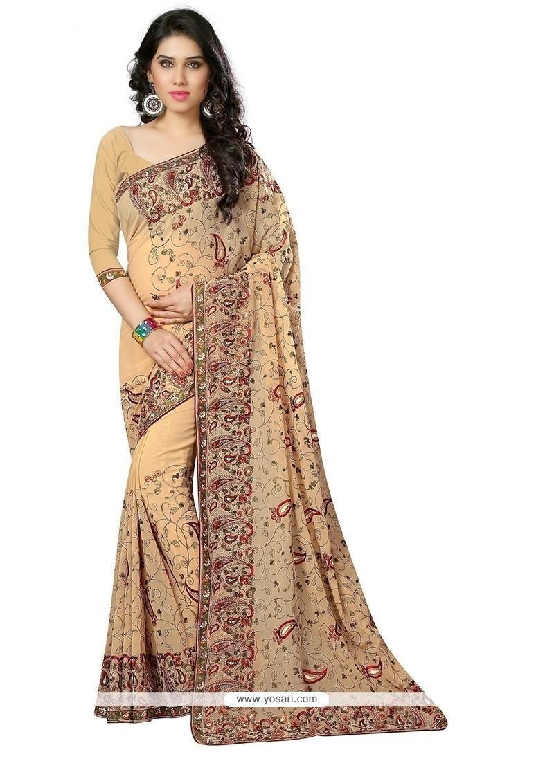 Precious Beige Designer Saree
