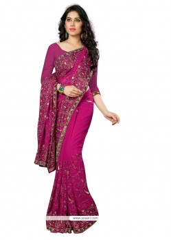 Graceful Embroidered Work Magenta Designer Saree