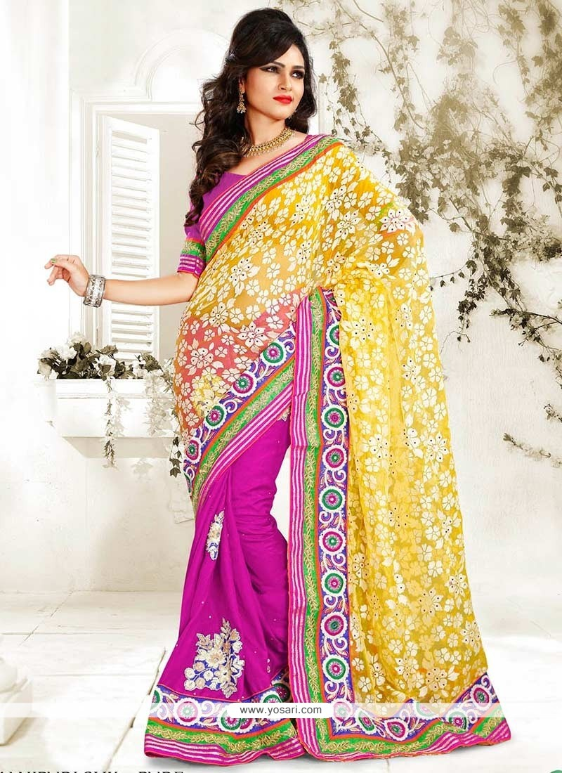 Yellow And Magenta Manipuri Silk Half And Half Saree